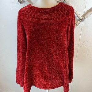 Croft & Barrow Red Chenille Sweater